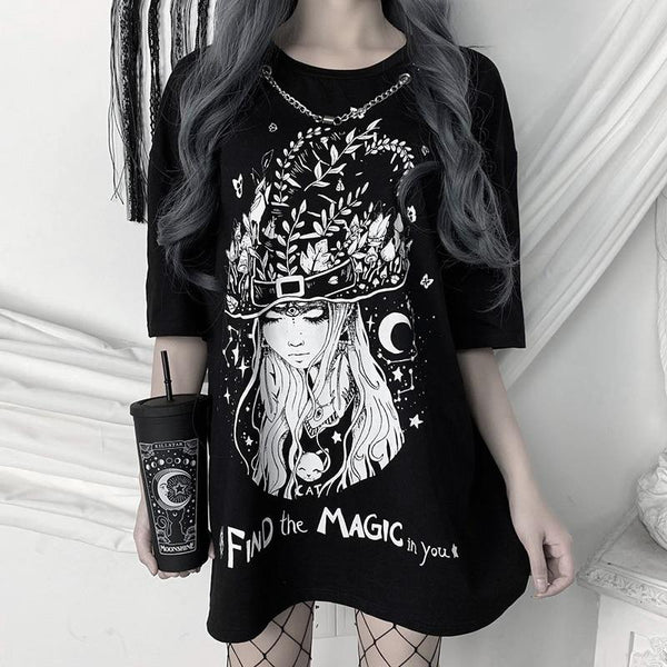 Witch Chain T Shirt - My Goth Closet