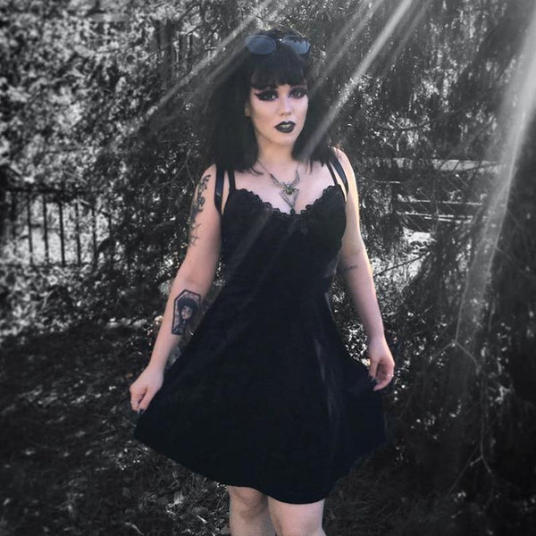 Embroider Goth Dress - Let's Be Gothic, nightwear, clothing, punk, dark