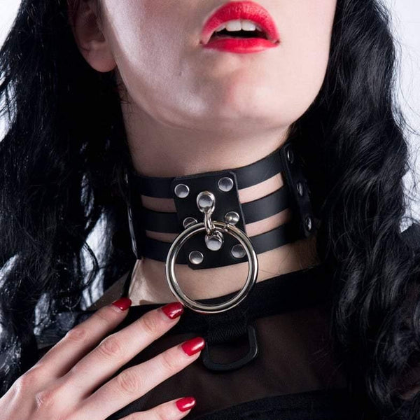 Leather O-Ring Collar - Let's Be Gothic, nightwear, clothing, punk, dark