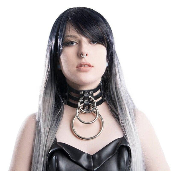 Triple Bondage O-Rings Chocker - Let's Be Gothic, nightwear, clothing, punk, dark