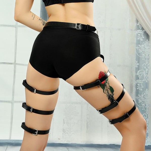 Leg O-Rings Strap Garter Belt - Let's Be Gothic, nightwear, clothing, punk, dark
