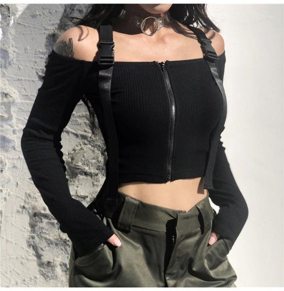 Buckle Zipper Top - My Goth Closet