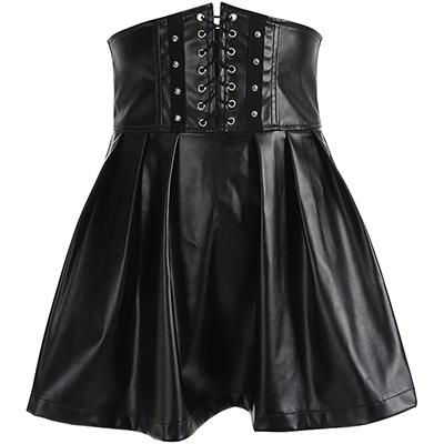 Adjustable Lace Up High Waist Skirt - My Goth Closet