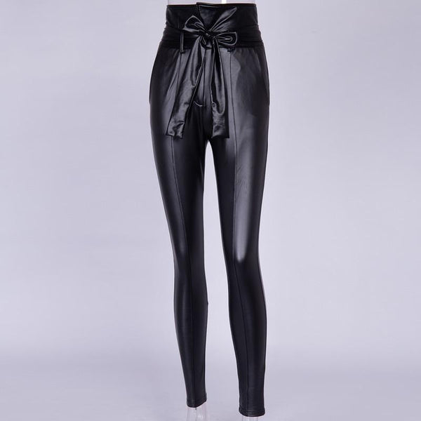 Bowknot High Waist Leather Leggings - My Goth Closet