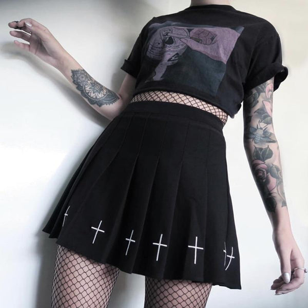 Cross Punk Skirt - My Goth Closet