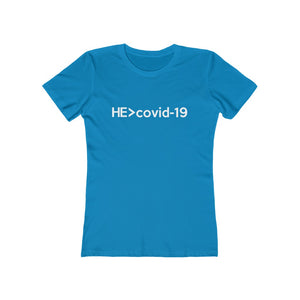 He Is Greater Than Covid-19 Women's Tee - Adventist Apparel