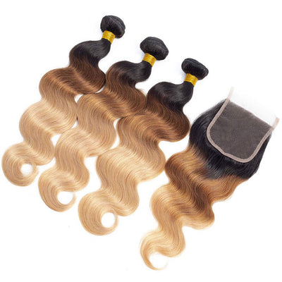 "Fastest Delivery 10A Ombre Brazilian Hair Bundles with Closure Ombre Body Wave Human Hair 3 Bundles with Closure 100% Brazilian Virgin Remy 3 Tone Ombre Bundles with Closure (20""22""24""+18""Closure)"