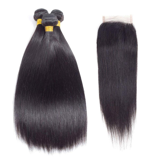 10A Brazilian Straight Hair 3 Bundles with Closure (16 18 20+14) Straight Human Hair Bundles with Closure Free Part 100% Unprocessed Virgin Remy Hair Bundles with Closure Natural Color