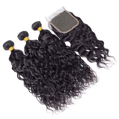 "Fastest Delivery 10A Brazilian Virgin Natural Wave Hair 3 Bundles with Closure Natural Color Remy Virgin Water Wave Human Hair Ocean Wave Bundles with Lace Closure Free Part (18""20""22""+16""Closure)"