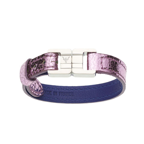 Candice Lambskin Metallic Rose Thin Bracelet