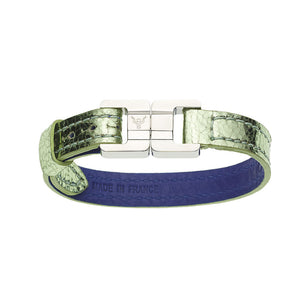 Candice Metallic Pistachio & Steel  Thin Leather Bracelet