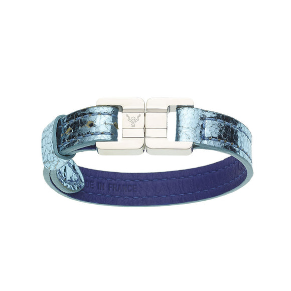 Candice Metallic Sky Blue & Steel Thin Leather Bracelet