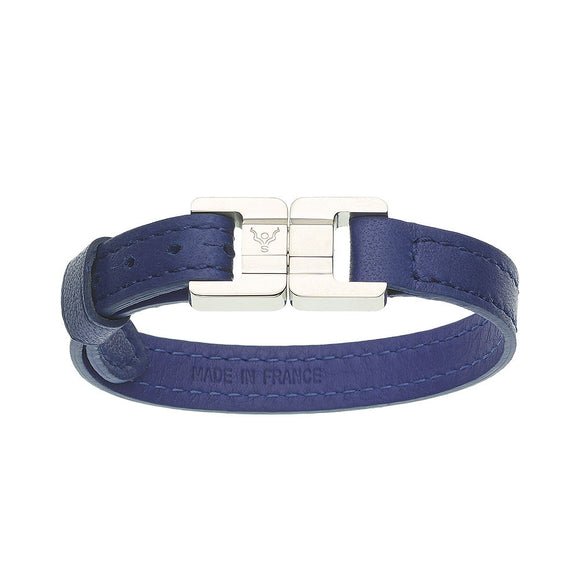 Candice O&S Blue & Steel Thin Leather Bracelet