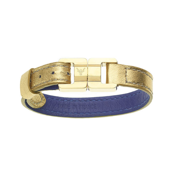 Candice Gold & Yellow Gold Thin Leather Bracelet