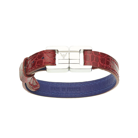 Candice Alligator Rouge Brillant & Steel Thin Bracelet
