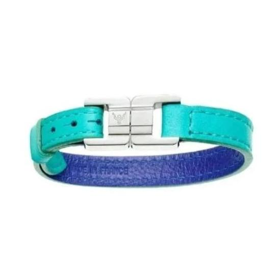 Candice Curaçao & Steel Thin Leather Bracelet