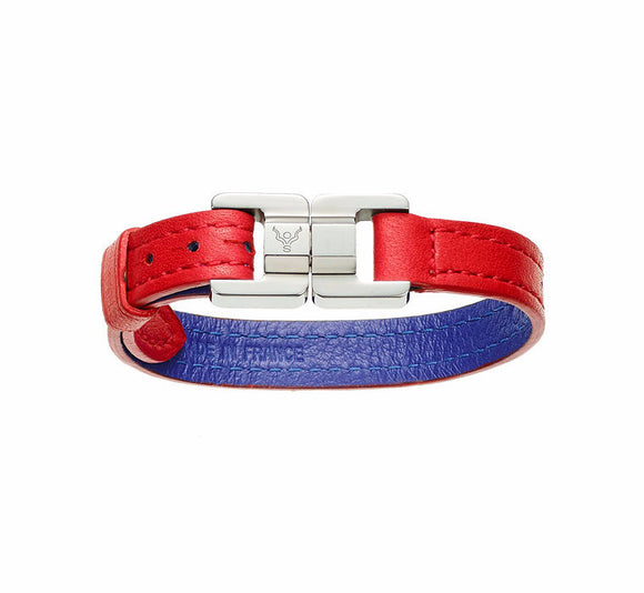 Candice Fraise & Steel Thin Leather Bracelet