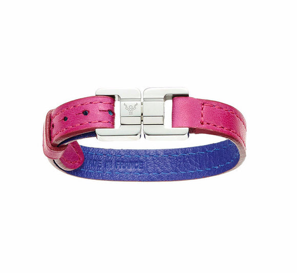 Candice Fuchsia & Steel Thin Leather Bracelet