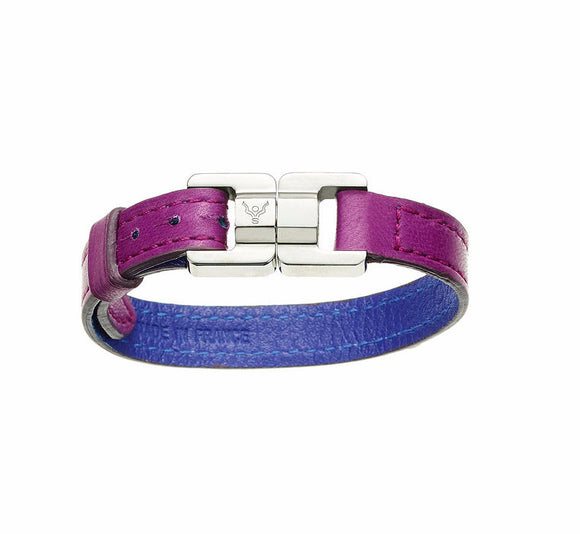 Candice Raisin & Steel Thin Leather Bracelet