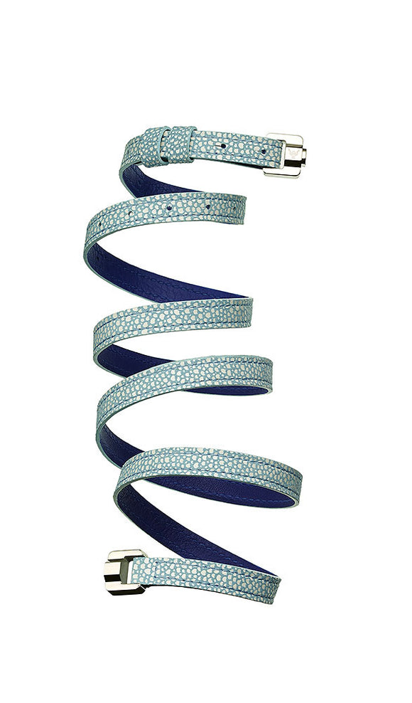 Cassandre Sky Blue & Steel Leather Bracelet & Belt