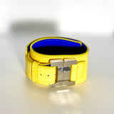 Julia Lemon Leather & Steel Narrow Cuff