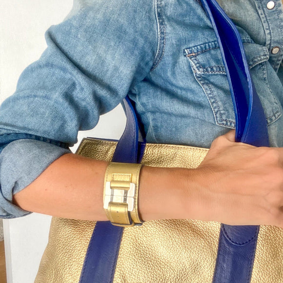 Julia Gold & Steel Leather Narrow Cuff