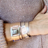 Julia Leather Metallic Rosegold & Steel Narrow Cuff