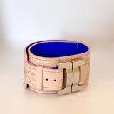 Lucie Monin X Owen&Savary:    Julia Pink Graphics Leather Narrow Cuff