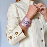 Lucie Monin X Owen&Savary:     Salomé Rose Graphics Leather Wide Cuff