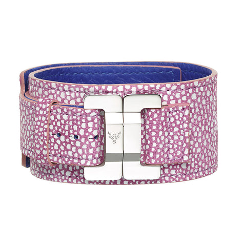 Julia Mock Shagreen Rose Narrow Cuff