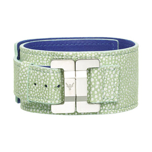 Julia Mock Shagreen Pistachio Narrow Cuff