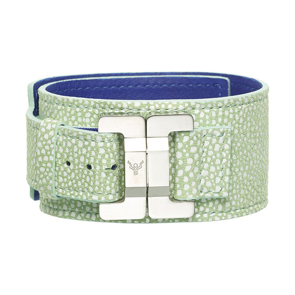 Julia Pistachio Leather & Steel Narrow Cuff