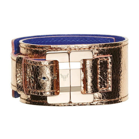 Julia Lambskin Metallic Rosegold Narrow Cuff