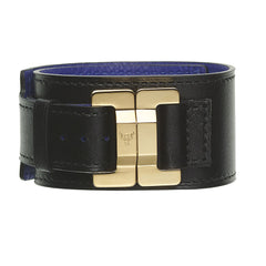 Julia Black Calf Yellow Gold Clasp Narrow Cuff