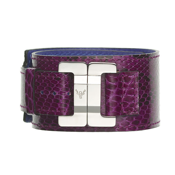 Julia Python Cyclamen & Steel Narrow Cuff