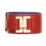 Julia Leather Vermillon & Gold Narrow Cuff