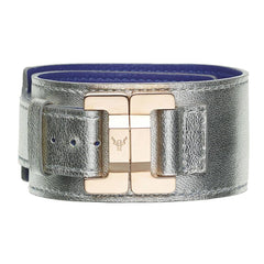 Julia Lambskin Silver Narrow Cuff