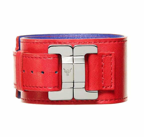 Julia Fraise & Steel Leather Narrow Cuff
