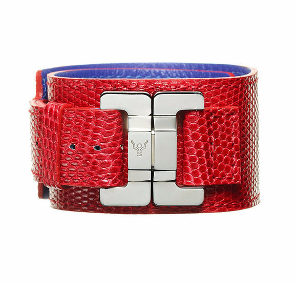 Julia Cerise & Steel Lizard Narrow Cuff