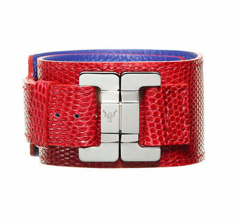 Julia Cerise Lizard Narrow Cuff