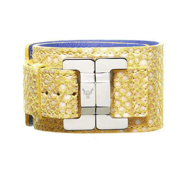 Julia Mango Pebbles Lambskin Narrow Cuff
