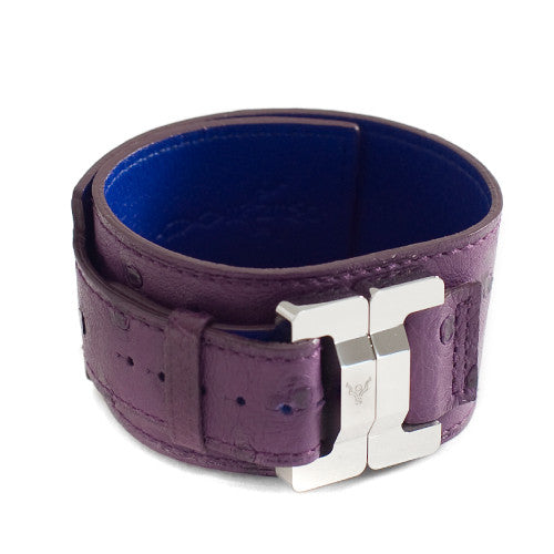 Julia Ostrich Amethyst & Steel Narrow Cuff