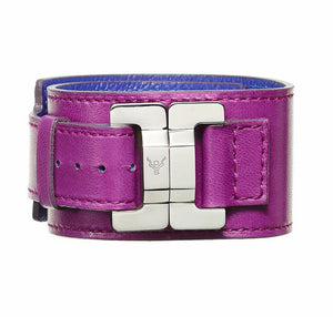 Julia Raisin Leather & Steel Narrow Cuff