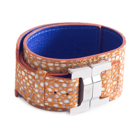 Julia Lambskin Pebbles Coral Narrow Cuff
