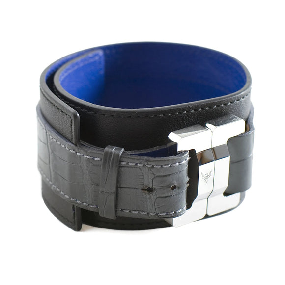 Maximilien Men's Calf & Charcoal Alligator Cuff