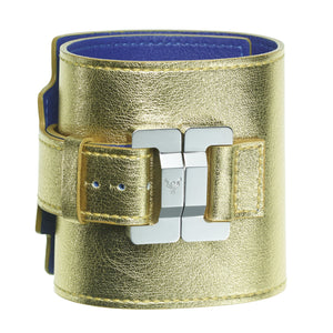 Salomé Gold Leather & Steel Wide Cuff