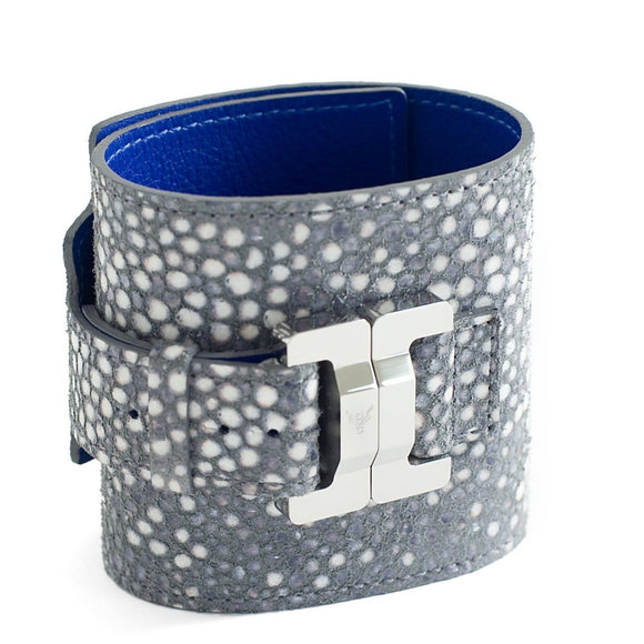 Salomé Grey Pebbles Leather & Steel Wide Cuff