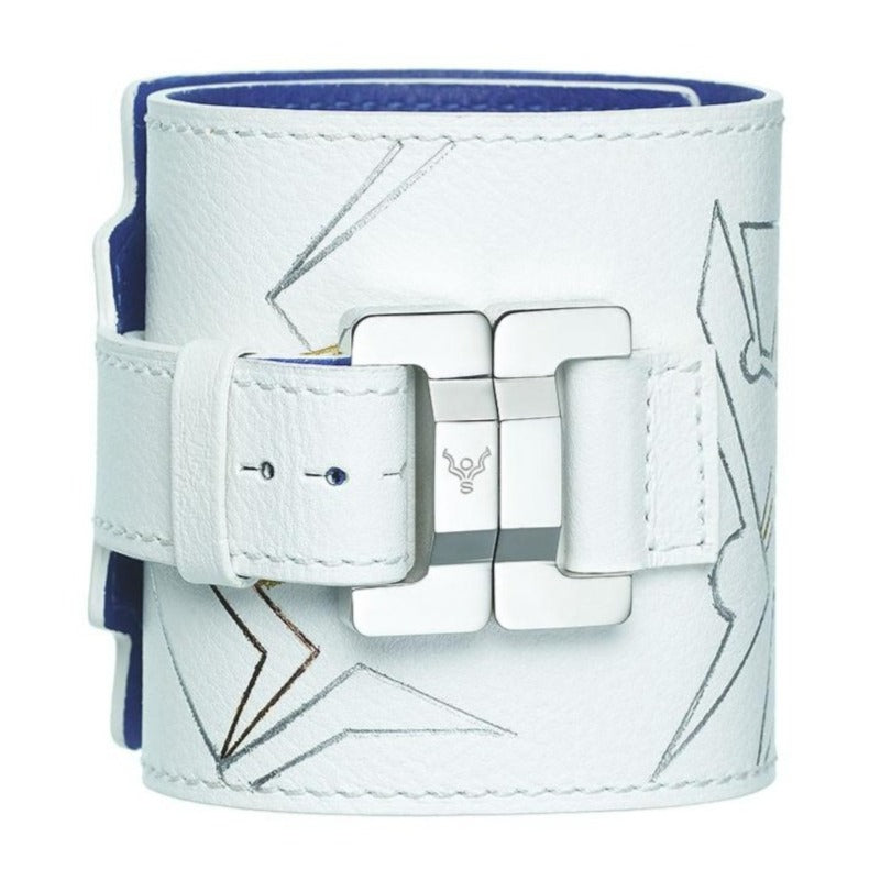 Salomé White Graphics Lambskin Wide Cuff