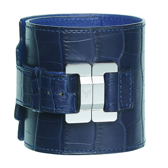 Salomé Alligator Marine & Steel Wide Cuff