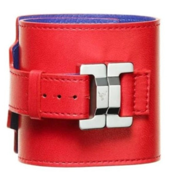 Salomé Fraise Leather & Steel Wide Cuff